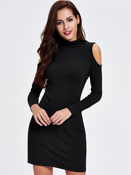 Sisjuly Solid Color Off-the-Shoulder Sweater Dress