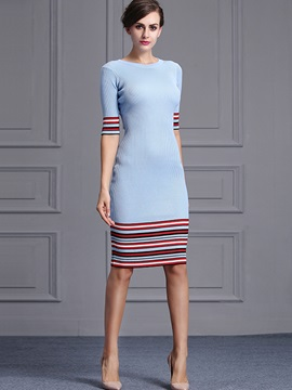 Color Block Vertical Striped Half Sleeve Sweater Dress