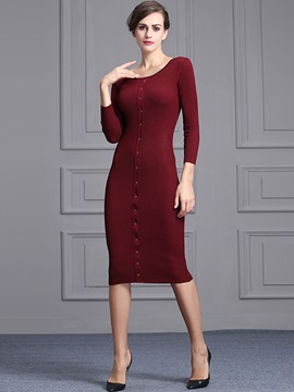 Solid Color Round Neck Sweater Dress