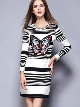 Vertical Striped Embroidery Bodycon Dress