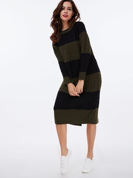 Vertical Striped Pullover Split Sweater Dress