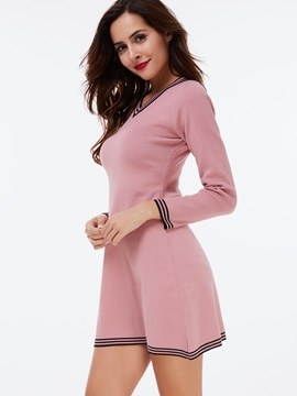 Pullover Color Block Patchwork Sweater Dress