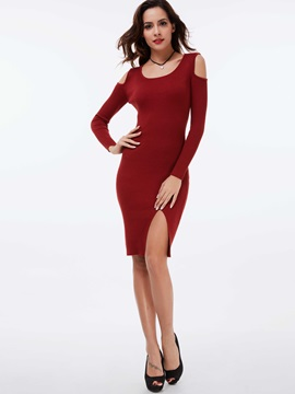 Pullover Hollow Round Neck Sweater Dress