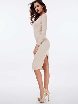 Solid Pullover Long Sleeve Sweater Dress