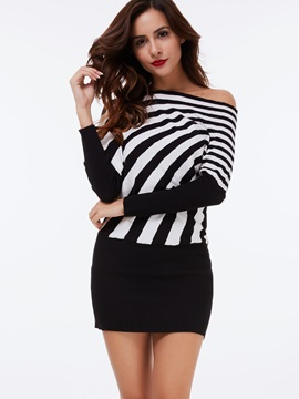 Vertical Striped Long Sleeve Pullover Sweater Dress