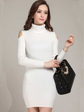 Turtleneck Hollow Pullover Sweater Dress