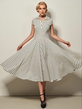 Bubble Skirt Polka Dots Day Dress