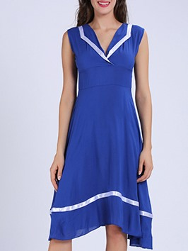 Contrast Color Slim Skater Dress