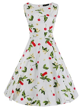 Vintage Print Sleeveless Expansion Skater Dress