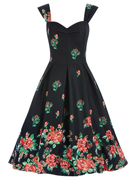 Vintage Floral Print Sleeveless Skater Dress