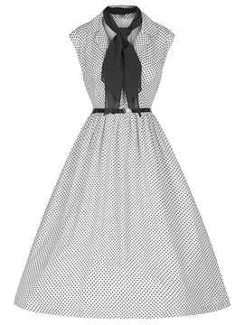 Chic Vintage Polka Dots Sleeveless Skater Dress