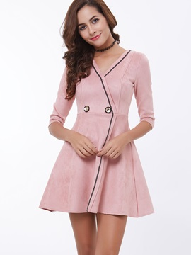 Plain V Neck 3/4 Sleeve Skater Dress
