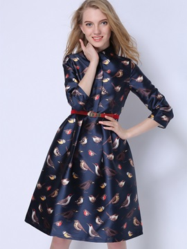 Floral Print Single-Breasted 3/4 Sleeve Skater Dress
