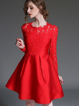 Lace Patchwork Elegant Skater Dress