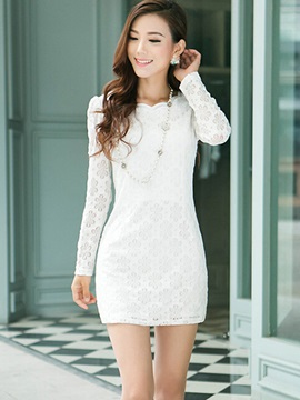 Chic Solid Long Sleeve Lace Dress