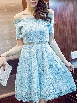 Plain Off-the-Shoulder Slim Lace Dress