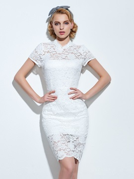 Stand Collar Short Sleeve Split Lace Dress