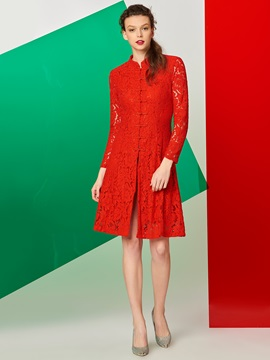 Stand Collar Button Ethnic Lace Dress