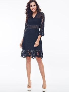 Chic V-Neck Print Hollow Lace Dress