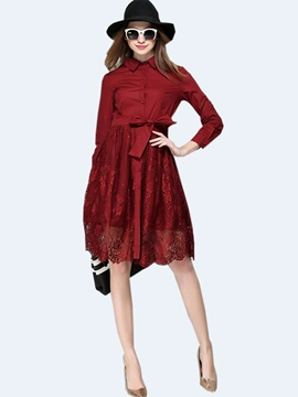 Lapel Patchwork Lace-Up Lace Dress