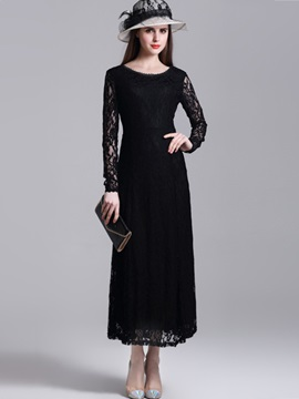 Pullover Hollow Empire Waist Maxi Dress