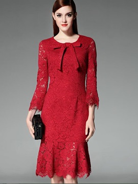 Bowknot Round Neck Mermaid Lace Dress