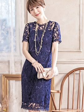 Solid Color Short Sleeve Lace Dress