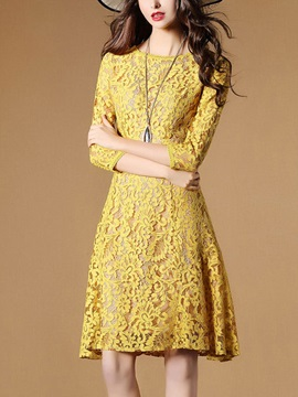 Pure Color Long Sleeve Lace Dress