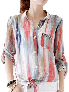 Chiffon Mixed Stripe Roll-up Sleeve Work Blouse