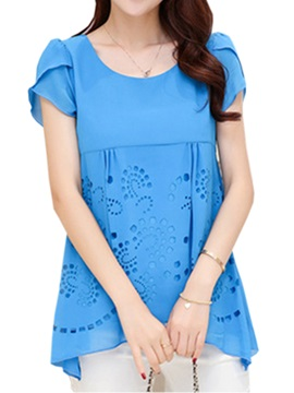 Pure Color Hollow Out Blouse