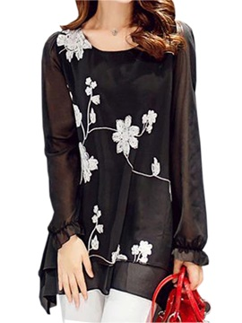 Stylish See-through Sleeves Floral Printed Blouse