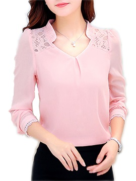 V Neckline Lace Patchwork Work Blouse