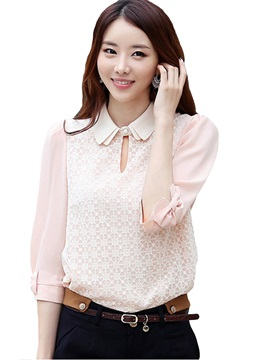 Stylish Lapel Long Sleeve Chiffon Blouse