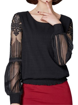 Chic See-through Lace Sleeves Blouse