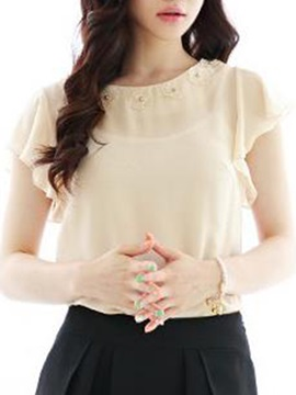 Chic Collar Short Ruffle Sleeves Blouse
