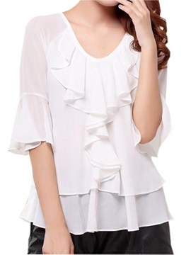 Stylish Double-Layer Falbala Blouse