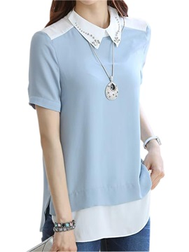 Special Bead Decoration Slim Blouse