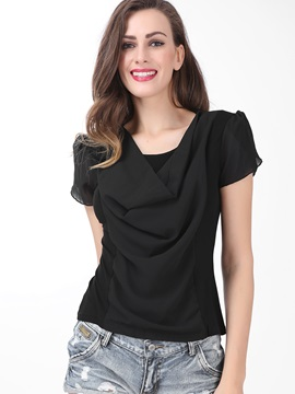Stylish Heap Sleeves Short Sleeves Work Blouse