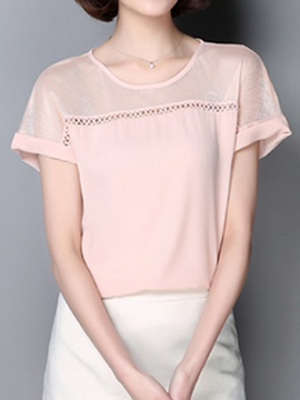 Chic See-through Short Sleeves Slim Blouse