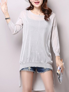 Simple Pure Color See-Through Blouse