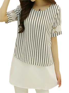 Special Decoration Sleeves Stripe Blouse