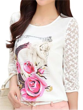 Special Pattern Three-Quarter Lace Sleeves Blouse