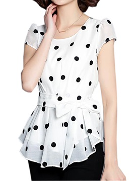 Chic Belt Polka Dots Slim Blouse