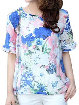 Double-Layer Cuff Short Floral Printed Blouse