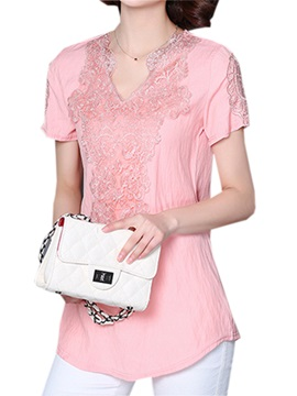 Stylish Lace Decoration Slim Blouse