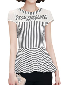 Chic Dress Hem Stripe Blouse