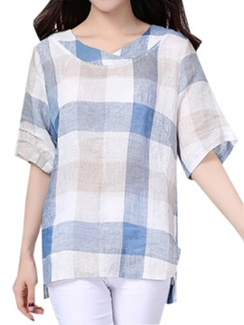 Rural Style Big Plaid Half Sleeves Blouse