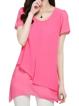Stylish Asymmetrical Double-Layer Hem Blouse