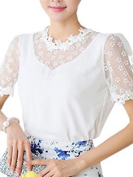 See-through Lace Sleeves and Collar Blouse