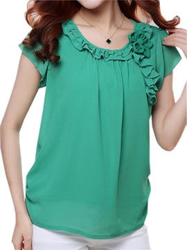 Special Pleated Collar Short Sleeves Blouse
